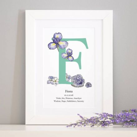 Personalised Birth Stone And Birth Flower Art